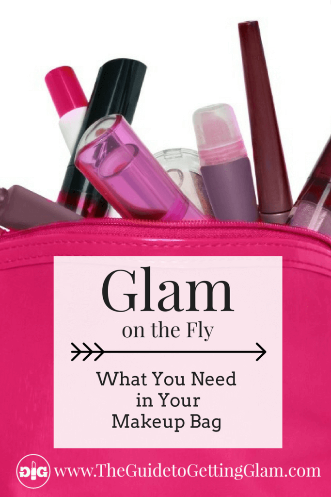 Makeup Bag Must Haves Part 1- Glam on the Fly. Click to find out what makeup basic makeup essentials you need to carry in your makeup bag.